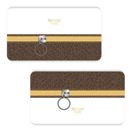 unbuttoned: Two brown and white horizontal business cards with a leather texture and yellow zipper closed. Vector