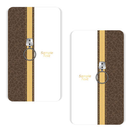 unbuttoned: Two brown and white vertical business cards with a leather texture and yellow zipper closed. Vector Illustration