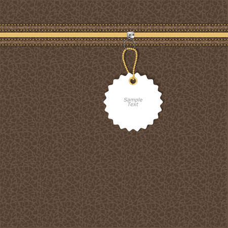 brown leather texture: Brown leather texture with yellow and white lightning round tag on a chain. Vector