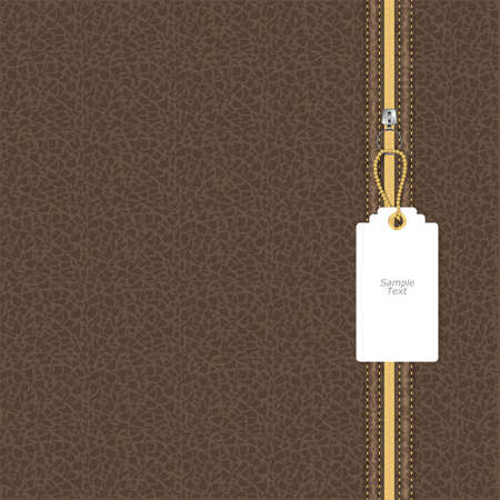 leather texture: Brown leather texture with yellow and white lightning square tag on the chain. Vector