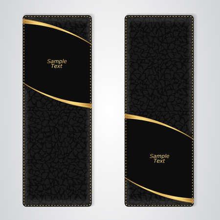 Elegante zwart lederen verticale banner met twee gouden strepen. Vector Vector Illustratie