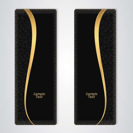 black leather: Elegant black leather vertical banner with the gold stripe. Vector Illustration