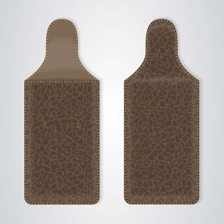 telephonic: Brown Leather Case for the phone in two ways. Vector Illustration