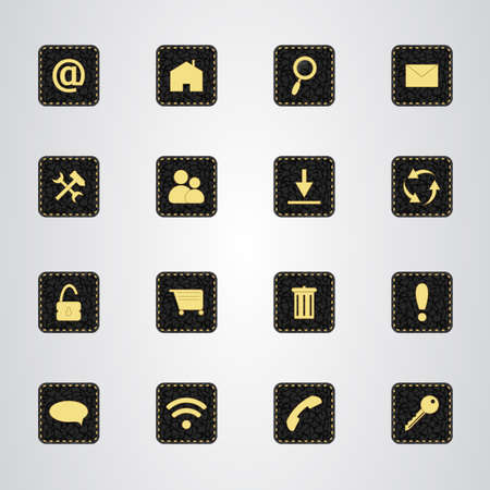 black leather: Set of icons on a black leather texture with gold thread. Vector Illustration