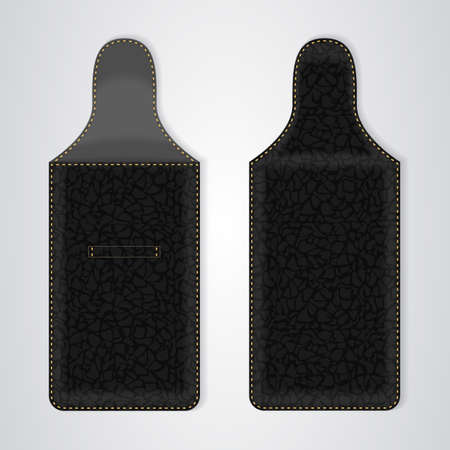 telephonic: Black Leather Case for the phone in two ways. Vector Illustration