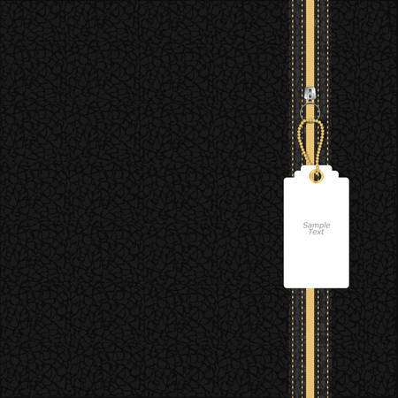 leather texture: Black leather texture with yellow and white lightning round tag on a chain. Vector
