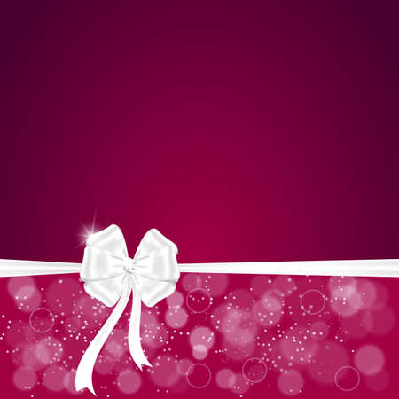 a place for the text: Elegant festive red background with horizontal ribbon and white bow, a place for text. Vector