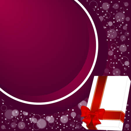 room for text: Elegant festive red background with a circular ribbon and white box with room for text. Vector