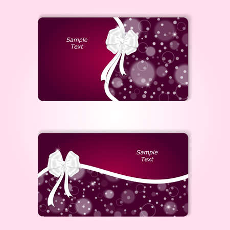 ribbons and bows: Two stylish horizontal red gift card with white ribbons and white bows.