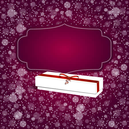 shiny background: Elegant festive red background with horizontal ribbon and white bow, a place for text. Vector