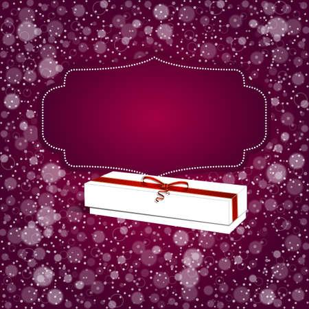 fondo para tarjetas: Elegante fondo rojo festivo con la cinta horizontal y lazo blanco, un lugar para el texto. Vector