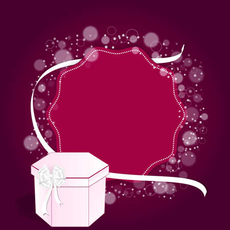round back: Elegant festive red background with a round back and a white ribbon and a pink box. Vector Illustration
