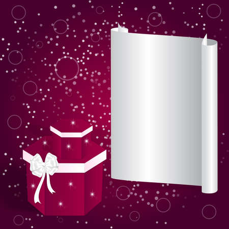 packaged: Elegant holiday card with a light gray banner and two red square box with a white bow. Vector