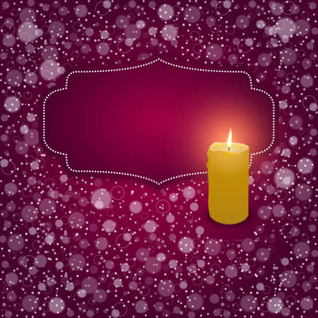 burning candle: Elegant festive red card with a red tag and a burning candle. Vector