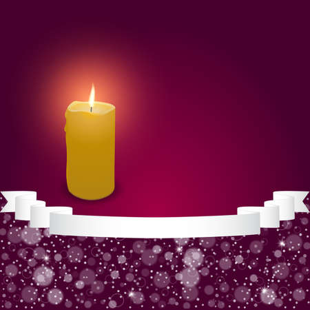 burning candle: Elegant festive red background with horizontal wide ribbon and a burning candle. Vector