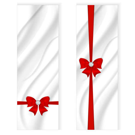 Two elegant silk vertical banner, white color with a silvery tint and a red bow with ribbon. Vector