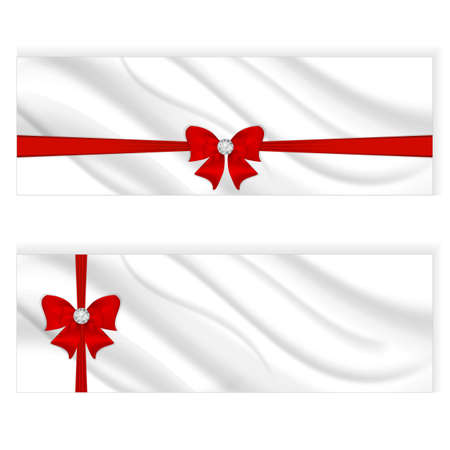 silvery: Two elegant silk horizontal banner, white color with a silvery tint and a red bow with ribbon. Vector Illustration
