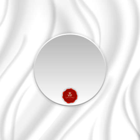 silver silk: Elegant silk texture with silver round tag and red seal. Vector