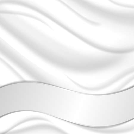 silver silk: Elegant silk texture with wavy silver ribbon. Vector