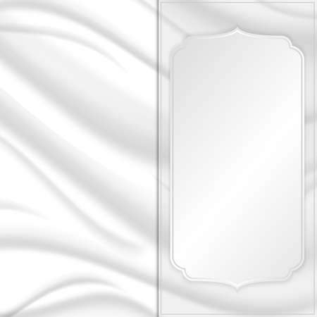 silver silk: Elegant silk texture with silver square tag. Vector Illustration