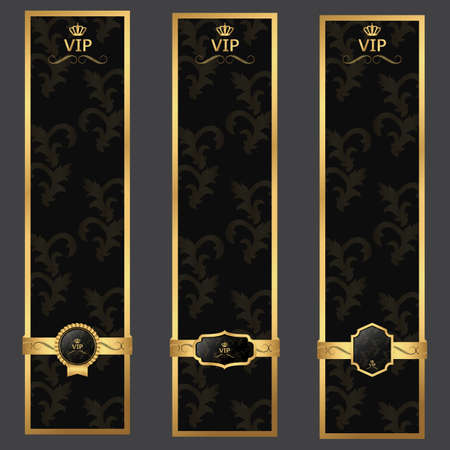 private club: Vip banner, background dark gray and gold with vintage background.