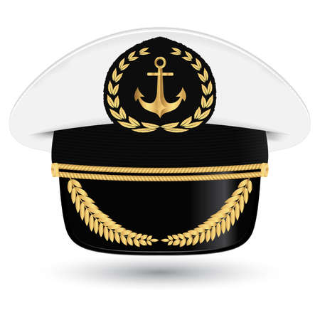 peaked cap: Captain peaked cap with cockade illustration isolated on white background