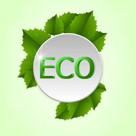 green it: Round tag with the leaf and the word ECO on it. On a light green background. Illustration