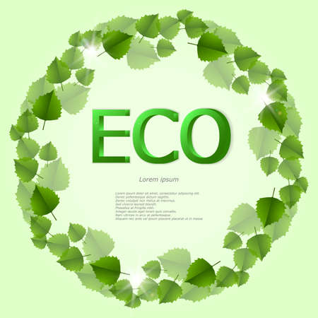 grass blades: Green background with the words ECO and leaves in a circle. Illustration