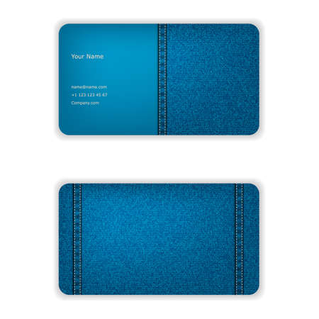 seamy: Business card from denim, blue, face and seamy side.