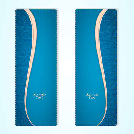 Set of two vertical banners blue denim with a pink ribbon.