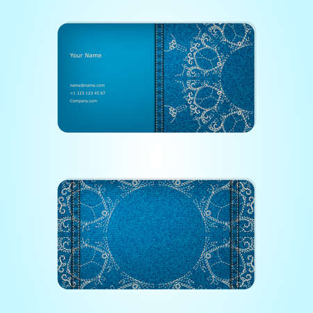seamy: Business card from denim, blue, ornamental, face and seamy side.