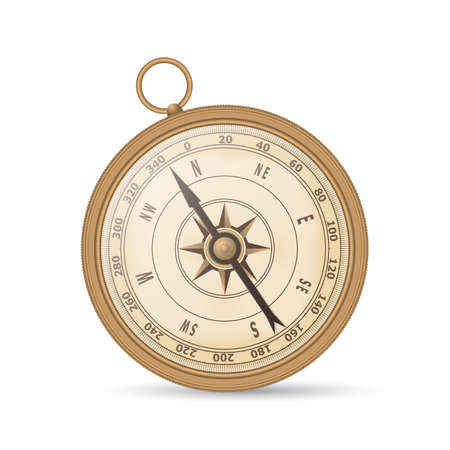 copper magnet: Ancient compass copper color on a white background. Vector Illustration