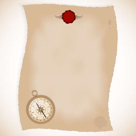 red seal: Old paper with red seal and a compass. Vector