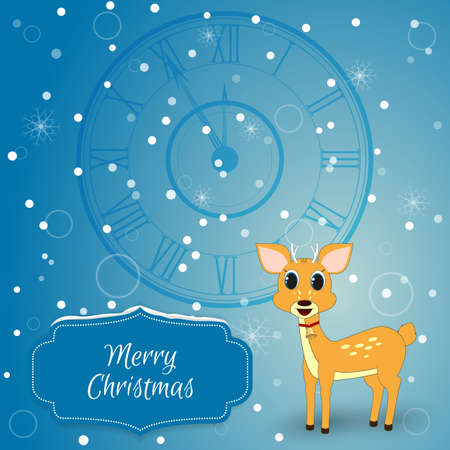 chimes: Christmas - card with chimes and deer. Suitable as well for invitations to Web -Design and printing. Performed in the style of the blue, on the label is snow. Vector Illustration