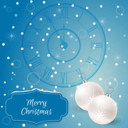 chimes: Christmas - card with chimes and white christmas balls. Suitable as well for invitations to Web -Design and printing. Performed in the style of the blue, on the label is snow. Vector Illustration