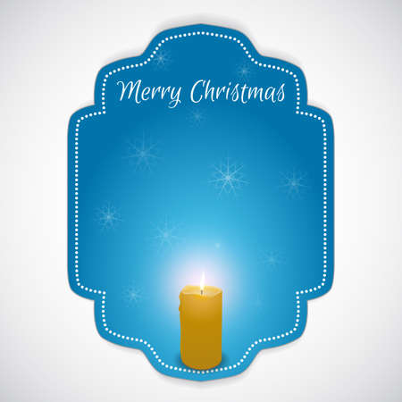 performed: Christmas - tag with a burning candle. Suitable for banners, Web-design and printing. Performed in the style of blue with snowflakes and inscription. Vector