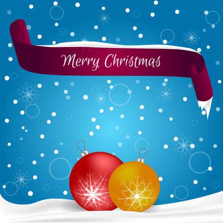 Die Weihnachtskarte, Die Im Blau Mit Schneeflocken, Rote Fahne Mit ...