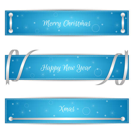 Set of three horizontal blue festive Christmas banners with sreberistymi ribbons and labels. Suitable for web design. Vector
