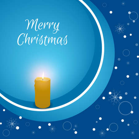 burning candle: Christmas card with a burning candle on a blue background with snowflakes. Suitable for web design and print.Vektor Illustration