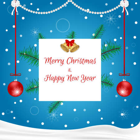 christmastide: Christmas card blue with hanging red balls, white, tag, golden bells and spruce branches. Suitable for invitations. Vector