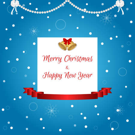 chimes: Christmas card in blue with a white tag, golden bells and a red ribbon. Suitable for invitations. Vector
