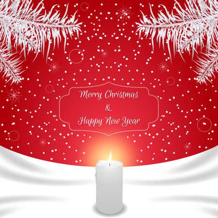 적합: Christmas card of red color with white silk and white burning candle. Suitable for invitations. Vector