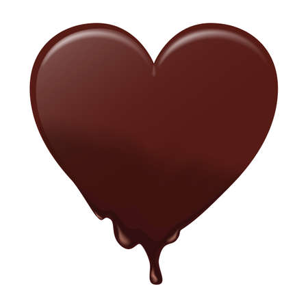 ticker: Chocolate heart melts. Suitable for Valentines, postcards and design. Vector Illustration