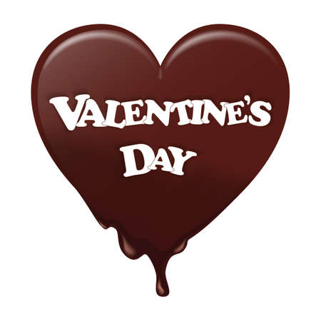 Chocolate heart melts. He wore a white label with the Valentine s Day. Suitable for Valentines, postcards and design. Vector