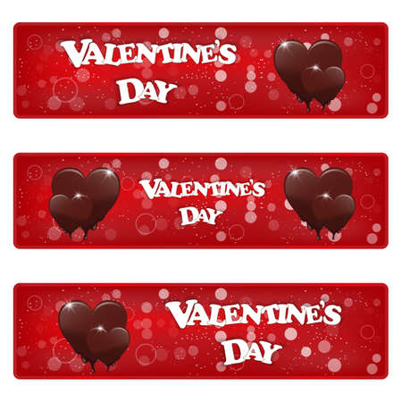 Set of three horizontal red banner with heart melting chocolate. Valentines Day inscription. Vector.