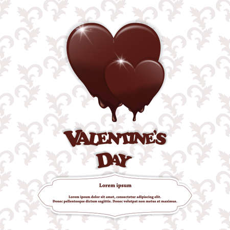 ticker: Gift card with chocolate melting hearts, Valentines Day and the inscription white flat tag for the text on a white background with ornament. Vector Illustration