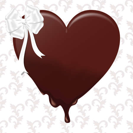Chocolate melting heart with a white bow. On a white background with ornament. Vector Illustration
