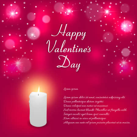 ticker: Elegant red background with white lit candle and the words Happy Valentines Day. Suitable for invitations. Vector. Illustration