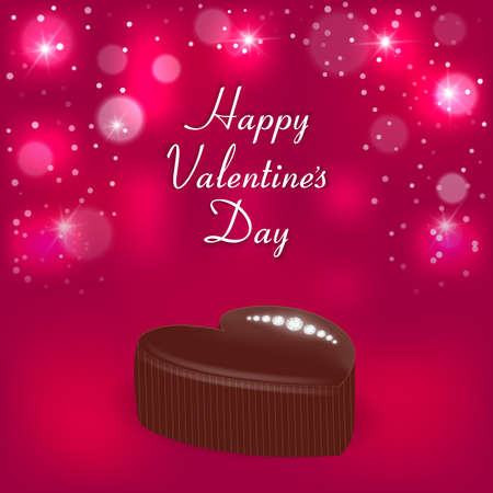 Elegant holiday card with a chocolate candy in the form of hearts, diamonds and the words Valentines Day. Suitable for invitations. Vector Illustration