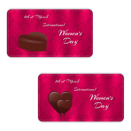 Elegant horizontal holiday gift cards and silk ornament. Chocolates in the form of heart and the inscription March 8. Vector